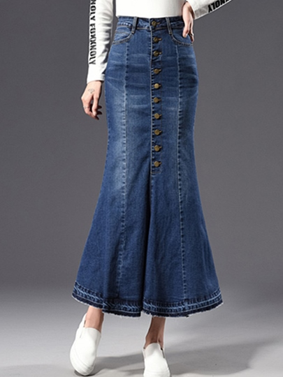 Ankle-Length Pleated Women's Fishtail Skirt