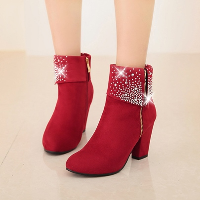 Chunky High Heel Rhinestone Suede Women's Ankle Boots