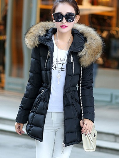 Faux Fur Hooded Slim with Belt Women's Overcoat