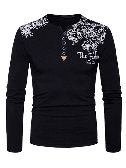 England Style Floral Printed Slim Fit Casual Men's Long Sleeve T-Shirt