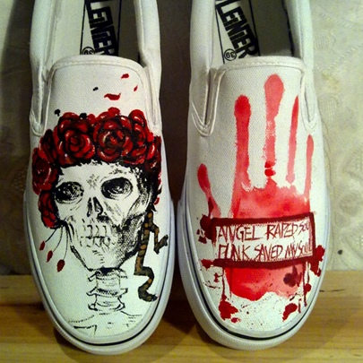 Blood Hands Skull Halloween Shoes Women's Canvas