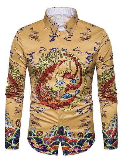 Chinese Style Ethnic Dragon Print Slim Fit Men's Long Sleeve Shirt