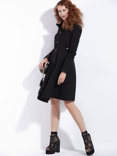 Asymmetric Black Stand Collar Long Sleeve Women's Overcoat