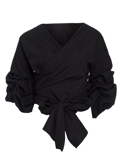 V-Neck Puff Sleeve Pullover Women's Blouse