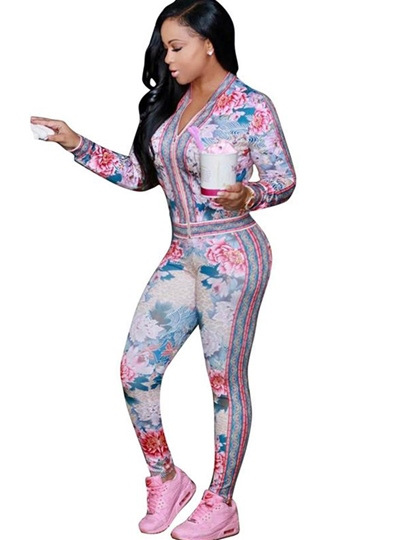 Round Neck Floral Zipper Women's Pants Suit