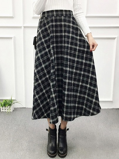 Fall Plaid Print A-Line High Waisted Women's Skirt