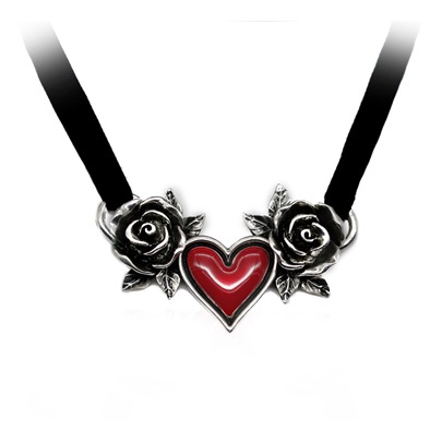 Red Heart Oil Drip Rose Velet Rope Gothic Halloween Necklace