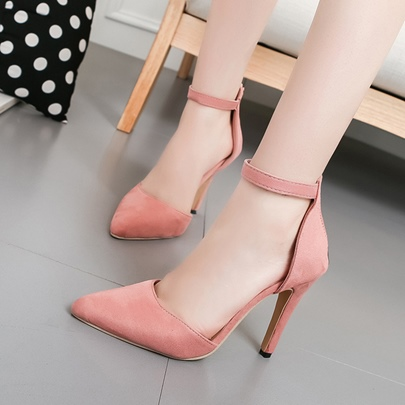 Zipper Solid Suede High Heel Women's Pumps Shoes