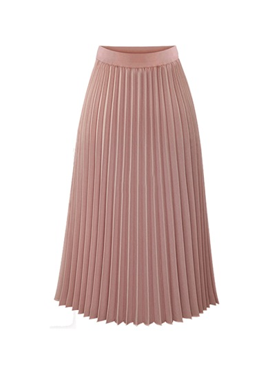High-Waist Pleated Mid-Calf Women's Skirt