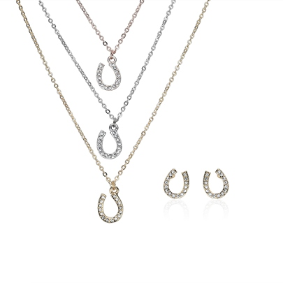 Multilayer C-Type Diamante Link Chain Jewelry Sets