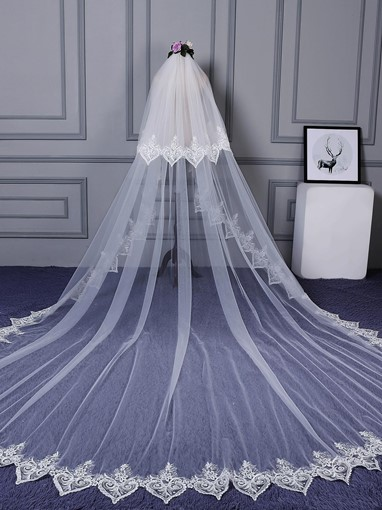 Two Layer Lace Edge Wedding Veil