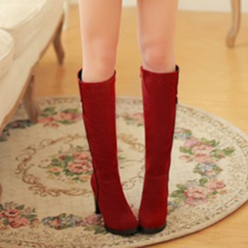 Solid Suede Chunky Heel Buckle Women's Knee High Boots
