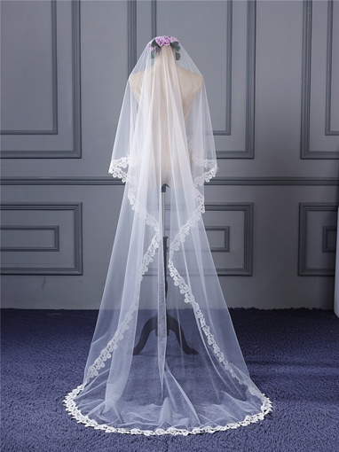 Sweep Train Lace Edge Wedding Veil