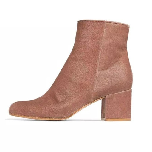 Suede Plain Chunky Heel Side Zipper Women's Boots