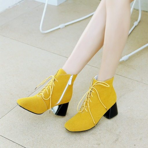 Chunky Heel Nubuck Leather Shoes Yellow Ankle Boots