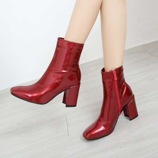 Red Ankle Boots Pantent Leather Side Zipper Women's Shoes