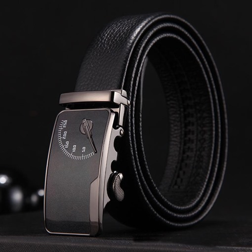 Dial Printing Alloy Upper Cowhide Automatic Buckle Men's Belts