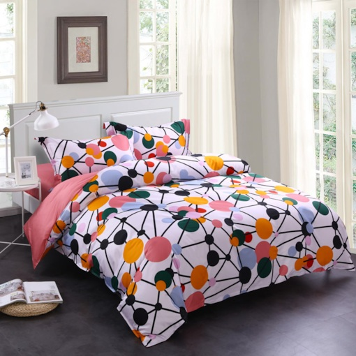 Watermelon Red Spotted Flashbulb Printed 4-Piece Cotton Bedding Sets