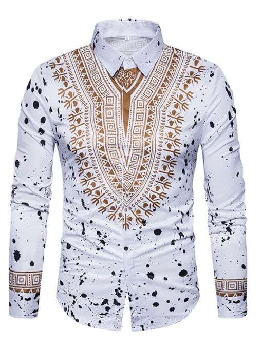 African Ethnic Print Fashion Dashiki Lapel Men's Luxury Shirt