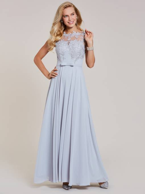Scoop Neck Cap Sleeves Appliques A Line Evening Dress