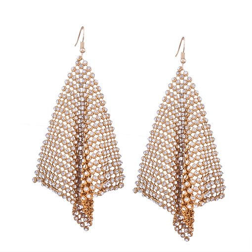 Hollow Out Rhinestone Alloy Square Earrings