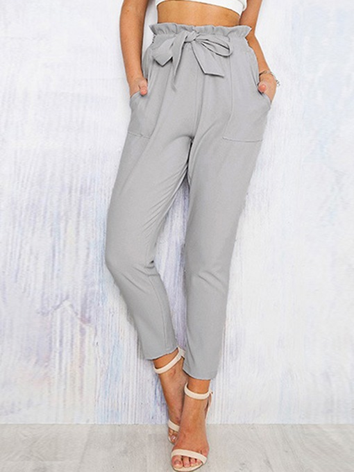 High-Waist Bowknot Women's Casual Pants