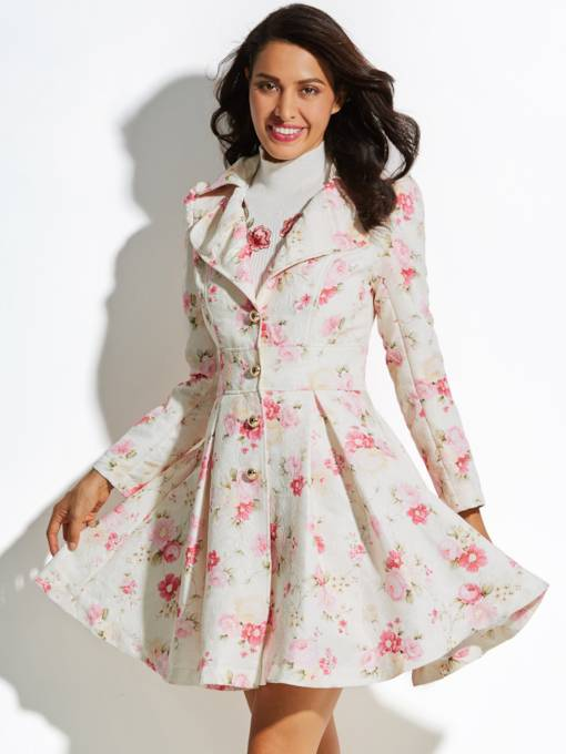 Notched Lapel Floral Printed A-line Women's Overcoat