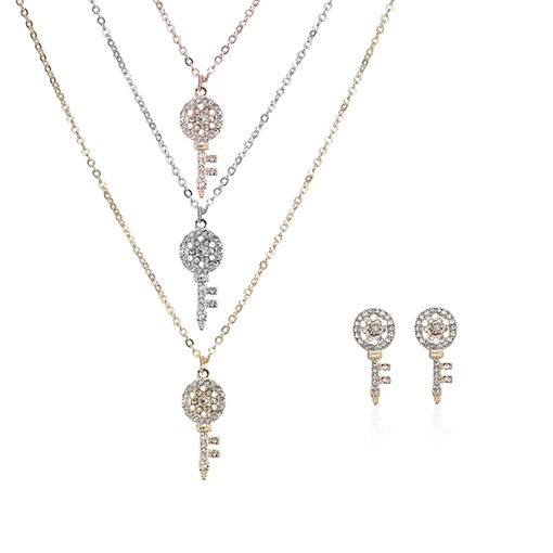 Key Type Rhinestone Alloy Hollow Out Jewelry Sets
