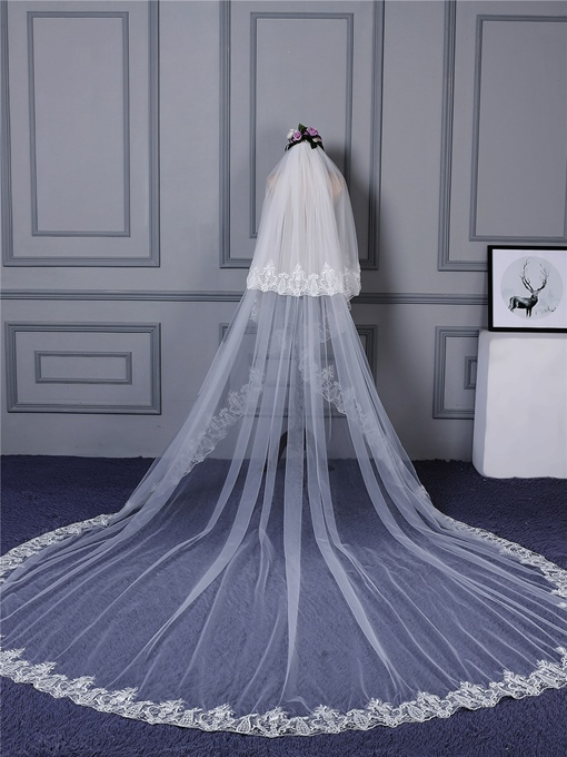 Appliques Edge Two Layer Wedding Veil