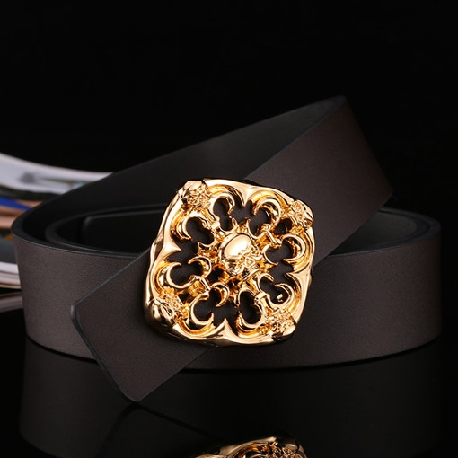 Split Cowhide Alloy Hollow Out Fashion Pin Buckle Men's Belts