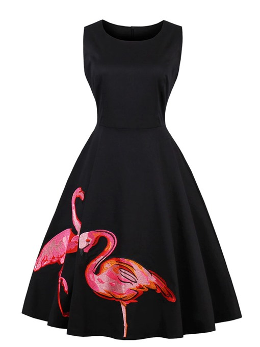 Black Sleeveless Animal Pattern Women's Day Dress