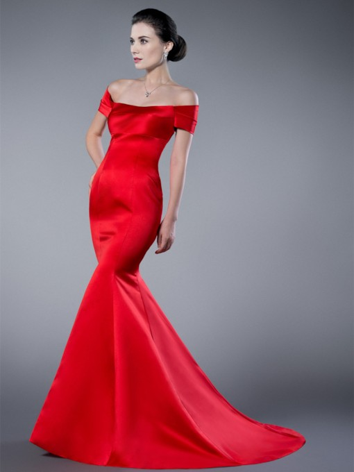 Mermaid/Trumpet Off-the-Shoulder Zipper-Up Formal Evening Dress