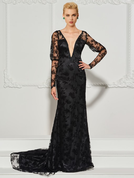 Long Sleeves Lace Trumpet Long Sleeves V-Neck Sweep Train Evening Dress