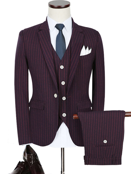 Notched Collar A Three-Piece Stripe Printed Red Slim Fit Men's Dress Suit