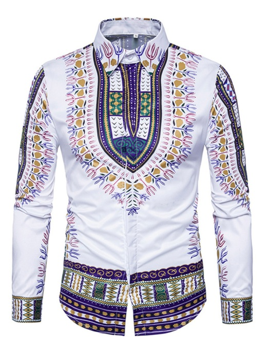 Dashiki Lapel Ethnic African Print Plain Slim Men's Luxury Shirt