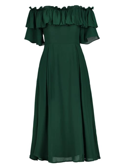Slash Neck Ruffle Green Women's Maxi Dress