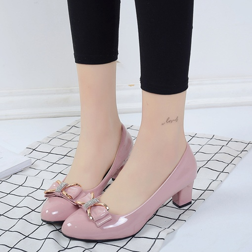 Women's Cute Pumps Rhinestone Bow Shoes