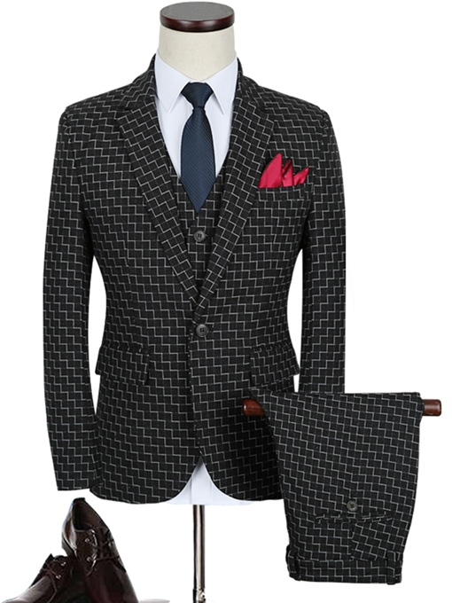 Notched Collar Black A Three-Piece Fine Plaid Printed Slim Fit Men's Dress Suit