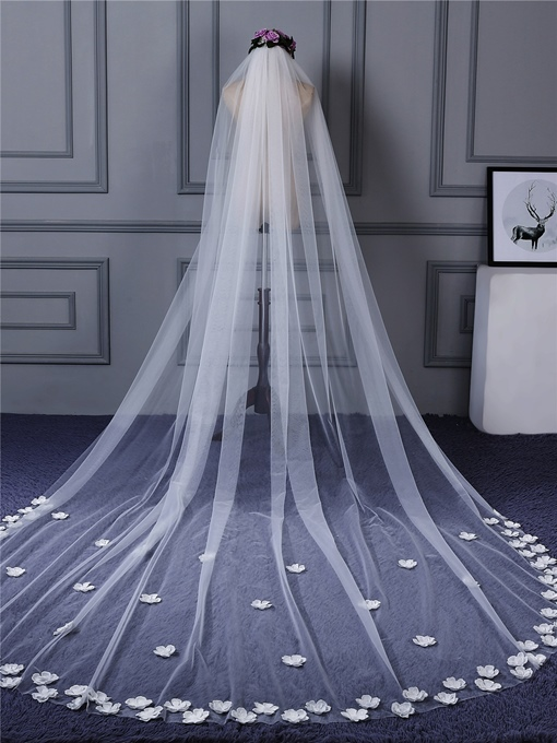Stereo Flowers One Layer Wedding Veil