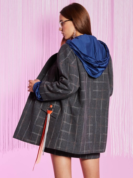Plaid Notched Lapel Mid-length One Button Loose Women's Blazer