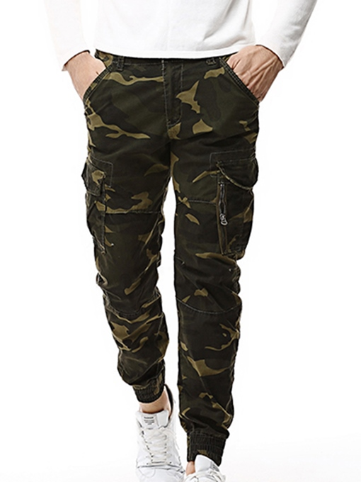 Mid Waist Camouflage Straight Slim Fit Men's Pants