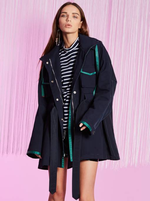 Color Block Patchwork Loose Pockets Women's Trench Coat