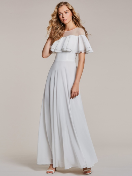Sheer Neck A Line Ruffles Sleeve White Evening Dress