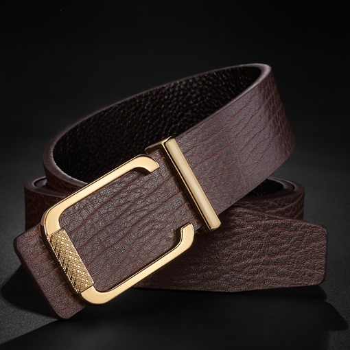 Bark Texture Alloy Split Cowhide Soft Smooth Buckle Men's Belts