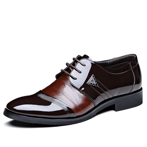 Color Block Patent Leather Men's Professional Shoes