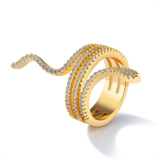 Dazzling Diamante 18K E-plating Diamante Multilayer Ring