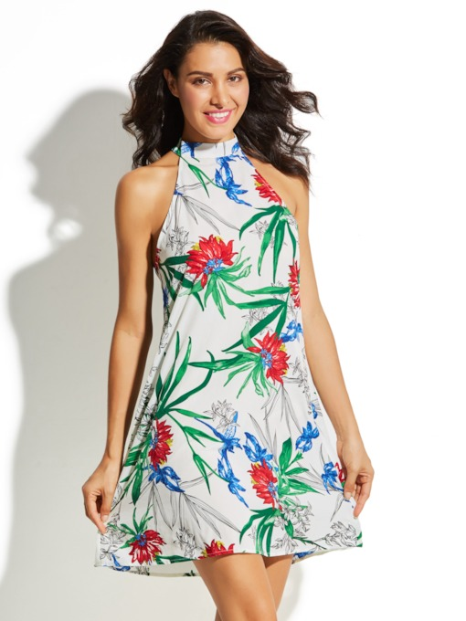 Sleeveless Printing White Vacation Women's Day Dress