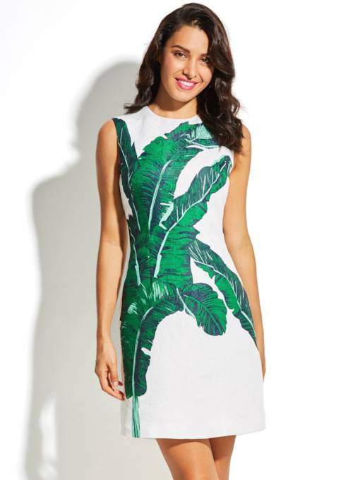 Back Zipper Leaf Pattern Women's Day Dress