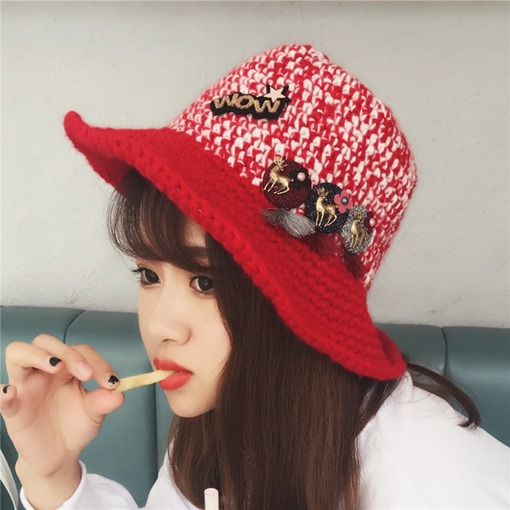 Knitted Keep Warm Appliques Printing Hats