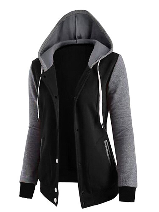 Hooded Single-breasted Color Block Women's Hoodie